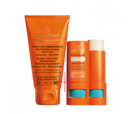 Collistar Set Sun Stick Hypersensitive Skin LSF50+ + Special Perfect Tan Global Anti-Age Protection Tanning Face Cream LSF30